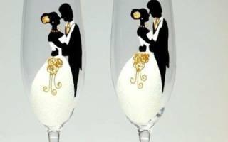 Красивые свадебные бокалы своими руками. Ручная роспись бокалов на свадьбу по контуру, узорами, по трафаретам — как сделать эксклюзивные аксессуары для молодоженов своими руками
