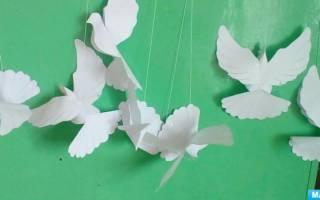 Выкройка объемного голубя из бумаги. Как сделать бумажного голубя своими руками, птица из бумаги. Гирлянда из голубей на свадьбу