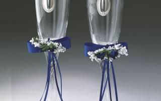 Украшение бокалов на свадьбу лентами. Мастер-класс: оформление свадебных бокалов своими руками